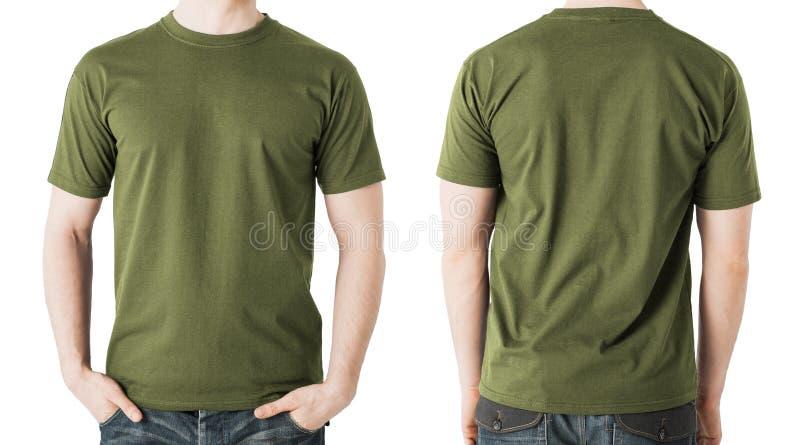 Mens in lege kaki t-shirt, voor en achtermening royalty-vrije stock afbeelding