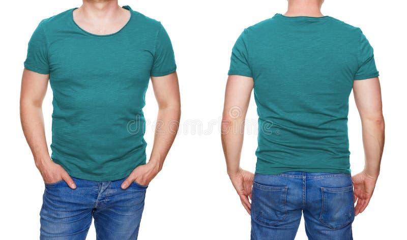 Mens in lege turkooise die t-shirtvoorzijde en achtergedeelte op wit wordt geïsoleerd stock afbeelding