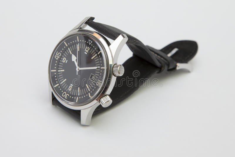 Mens luxury diver watch with synthetic strap isolated on white.  royalty free stock photography