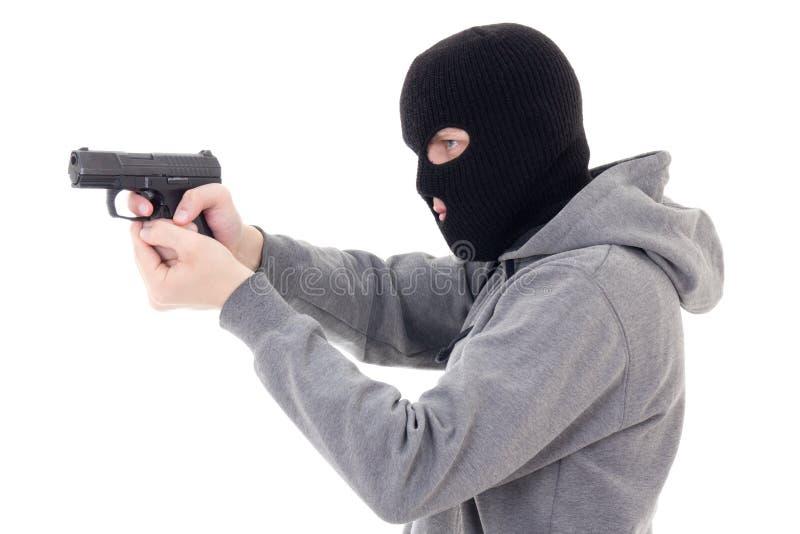 Mens in masker schieten met kanon geïsoleerd op wit royalty-vrije stock afbeeldingen