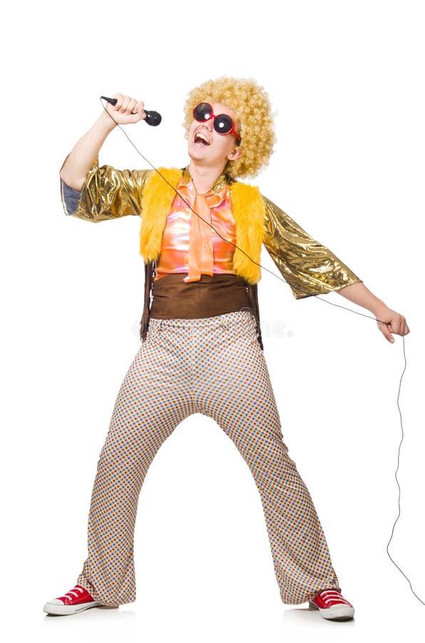 Mens met afrocut en geïsoleerd mic stock foto's