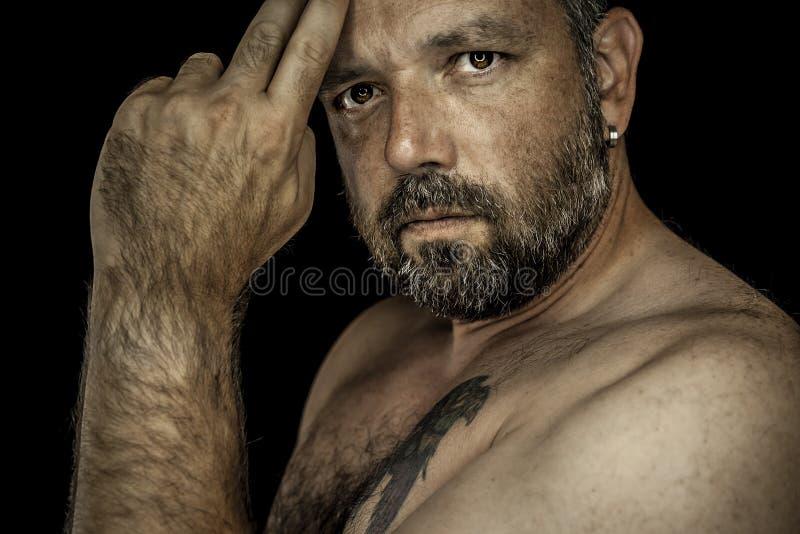 Mens met baard stock afbeelding