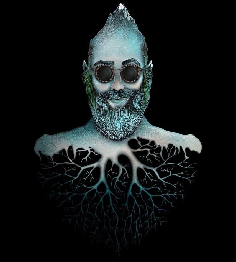 Mens met baard hoofdberg stock afbeelding
