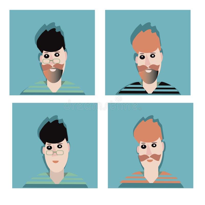 Mens met baard in pictogram van de glas het vlakke stijl Mannelijke karakter vectorillustratie royalty-vrije illustratie