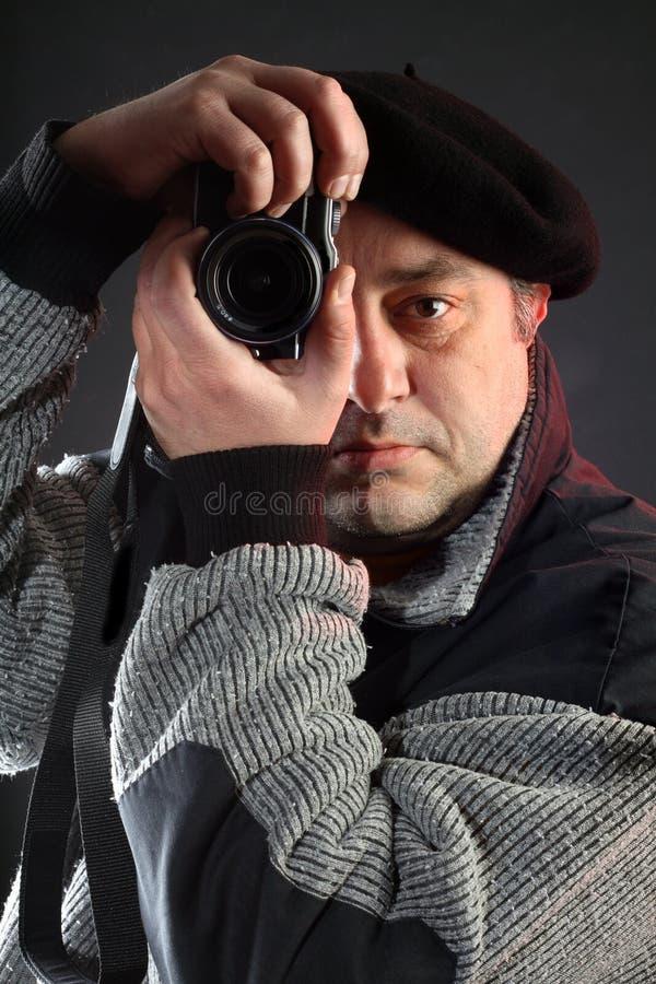 Mens met camera royalty-vrije stock foto's