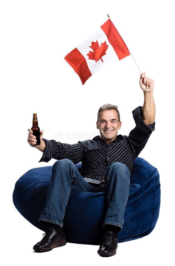 Mens met Canadese vlag stock fotografie