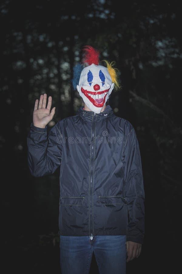 Mens met clownmasker in hout royalty-vrije stock foto's