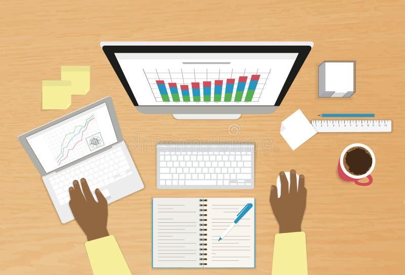 Mens met computer en laptop stock illustratie