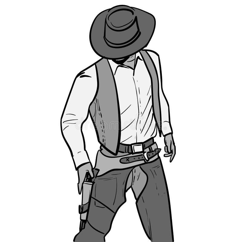 Mens met cowboyhoed en kanon Westelijke Gunfighter Digitale de Tekeningsvector van de Schetshand Illustratie vector illustratie