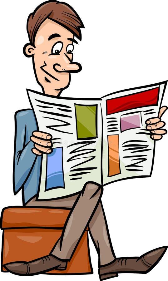 Mens met de illustratie van het krantenbeeldverhaal vector illustratie