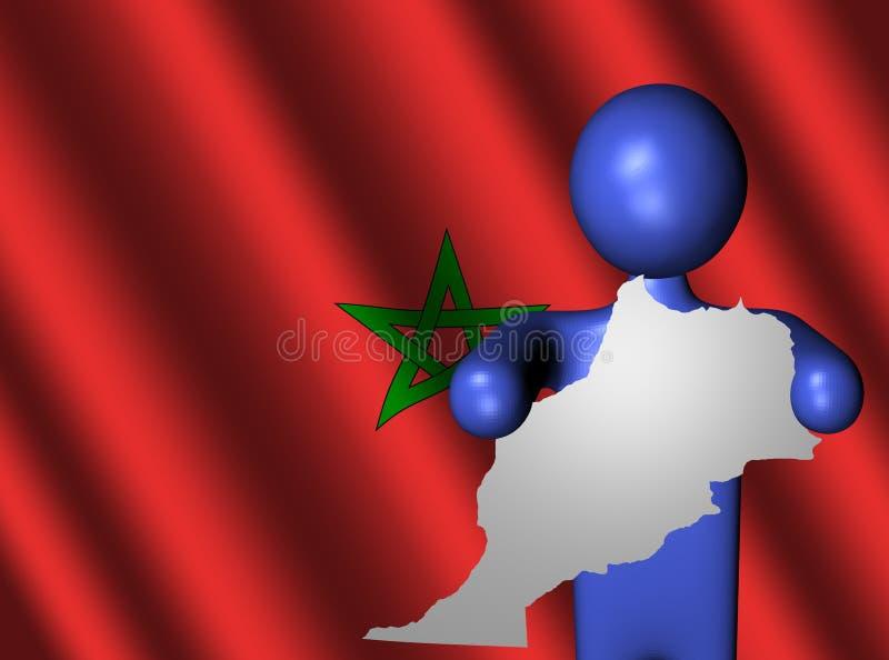 Mens met de kaartteken van Marokko vector illustratie