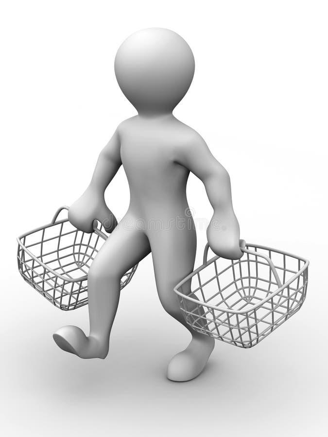 Mens met de mand van de consument stock illustratie
