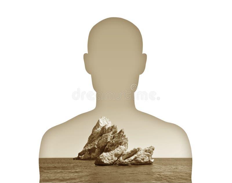 Mens met de steen op zijn hart vector illustratie