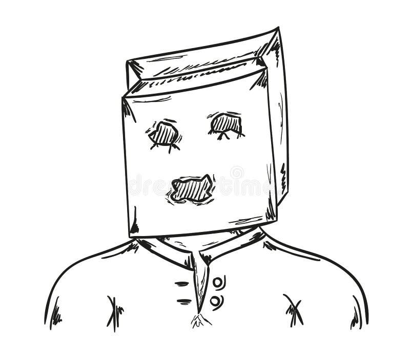 Mens met document zak op zijn hoofd stock illustratie