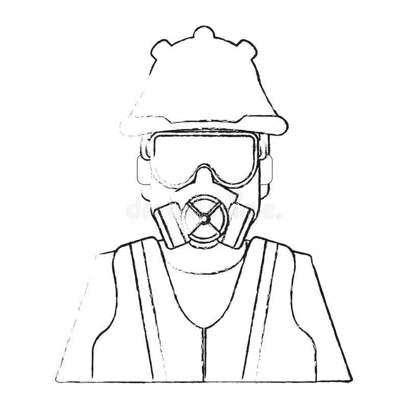 Mens met doek van industrieel veiligheidsontwerp vector illustratie