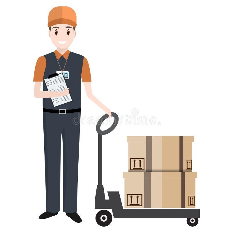 Mens met dozen en het pictogram van de de hefboomlift van de handpallet royalty-vrije illustratie