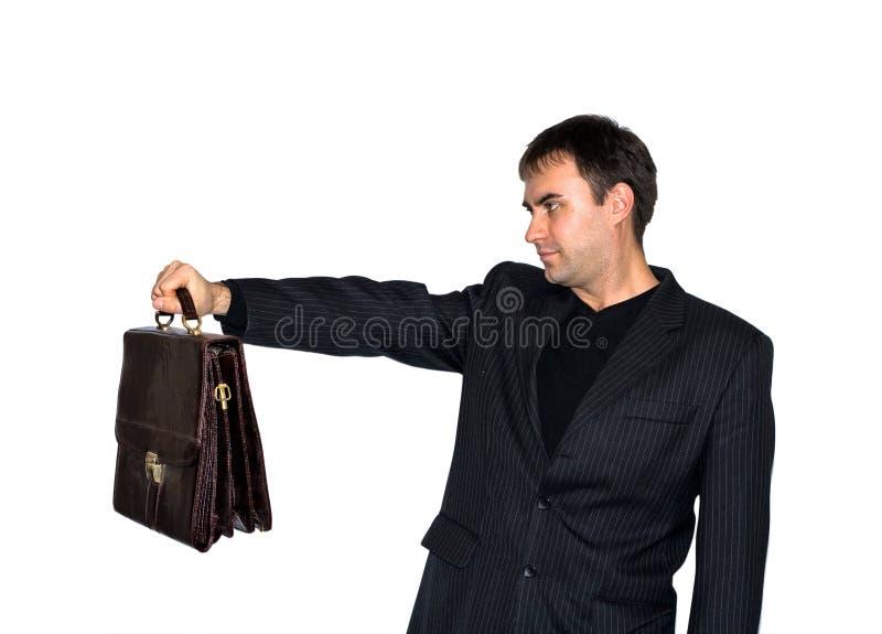 Mens met een aktentas stock foto's