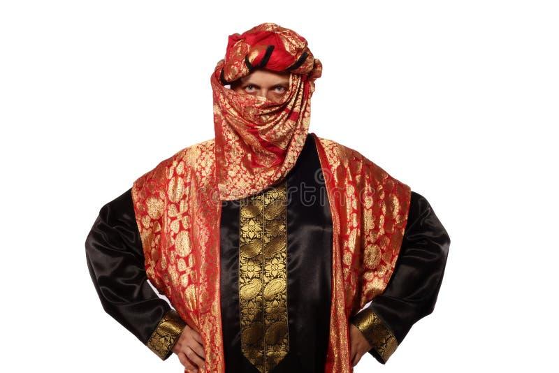 Mens met een Arabisch kostuum. Carnaval stock fotografie