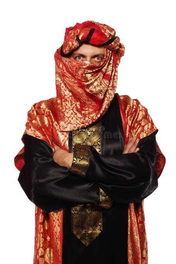 Mens met een Arabisch kostuum. Carnaval stock foto