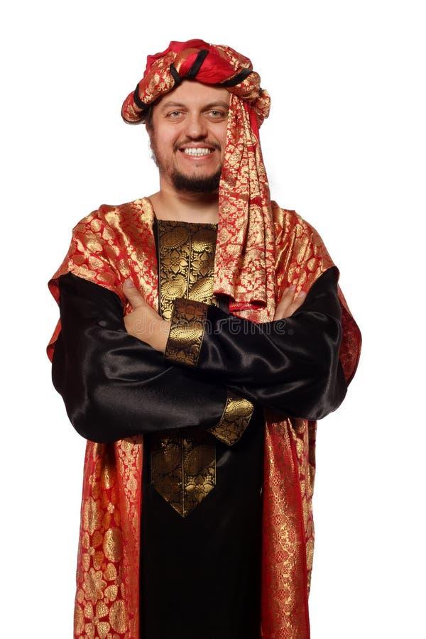 Mens met een Arabisch kostuum. Carnaval royalty-vrije stock foto