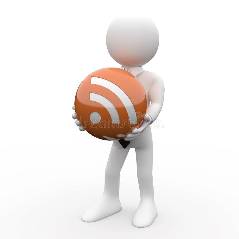 Mens met een bal in zijn handen, met het embleem RSS stock illustratie