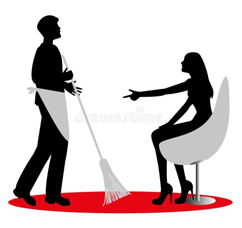 Mens met een bezem stock illustratie