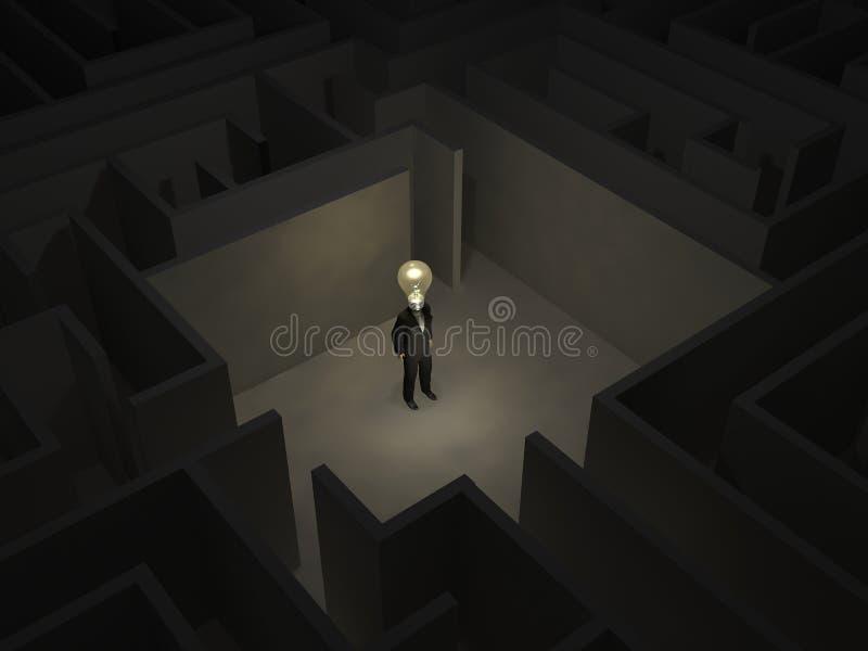 Mens met een bol in het midden van een geheimzinnig labyrint royalty-vrije illustratie