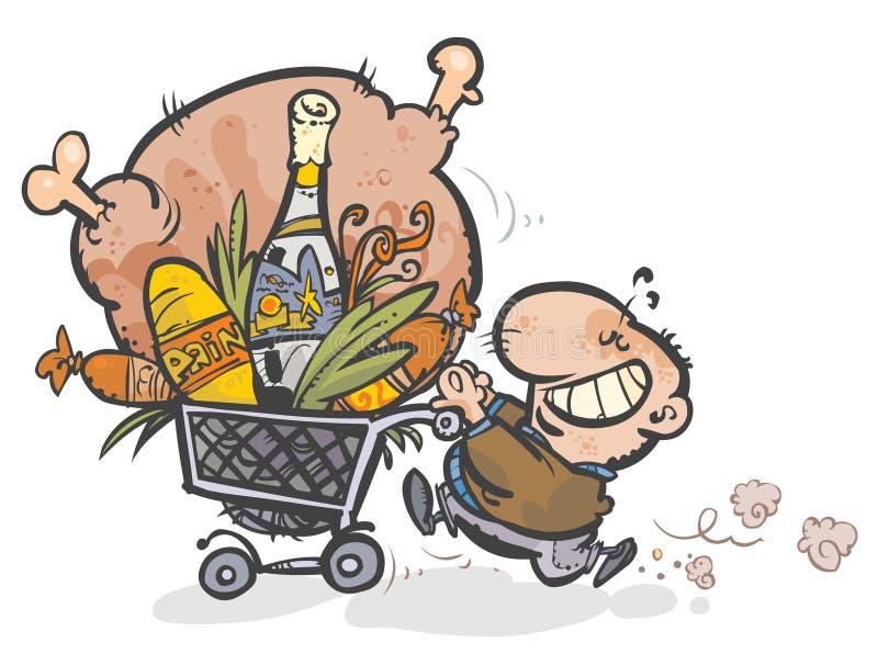 Mens met een boodschappenwagentje. royalty-vrije illustratie