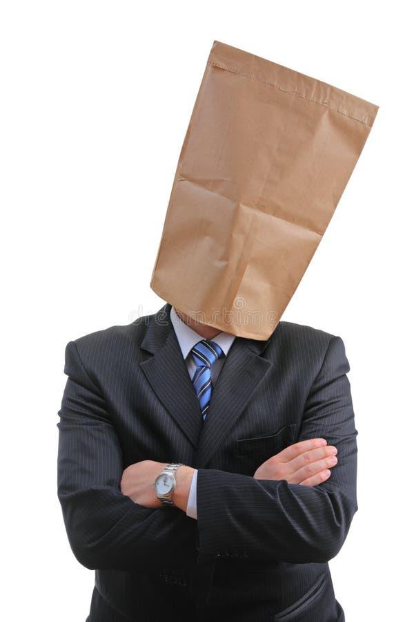 Mens met een document zak stock afbeeldingen