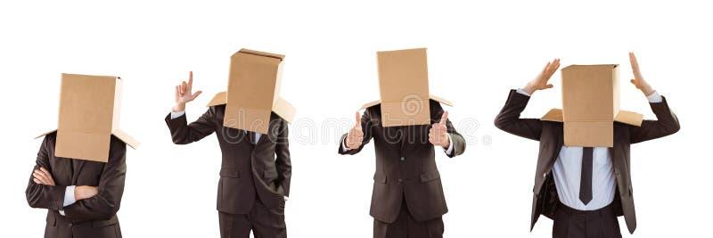 Mens met een doos in de hoofdcollage royalty-vrije stock fotografie