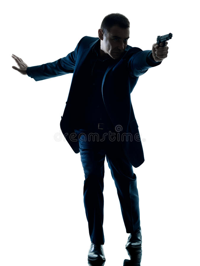 Mens met een geïsoleerd pistoolsilhouet royalty-vrije stock foto's