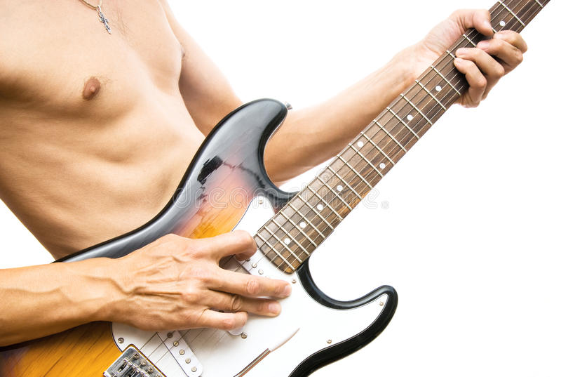 Mens met een gitaar royalty-vrije stock fotografie