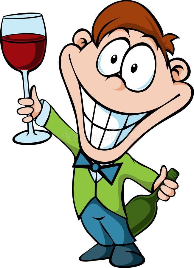 Mens met een glas wijn - zakenmantoost s stock illustratie