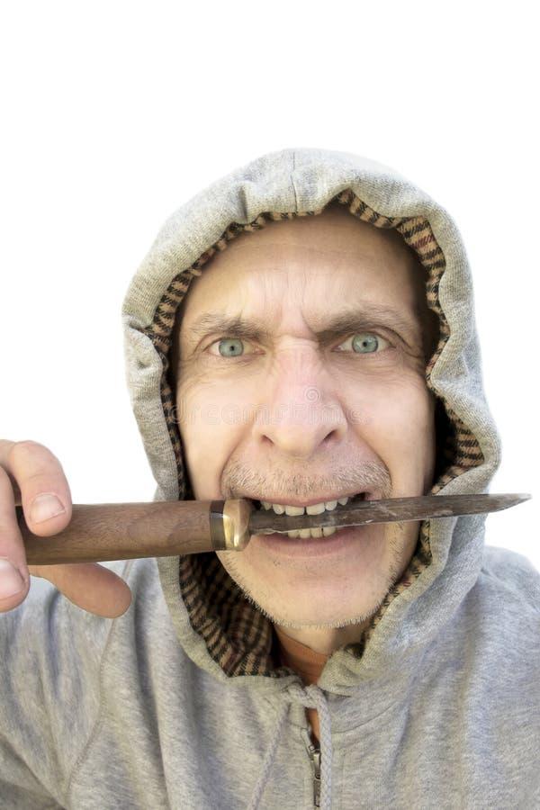 Mens met een mes royalty-vrije stock foto