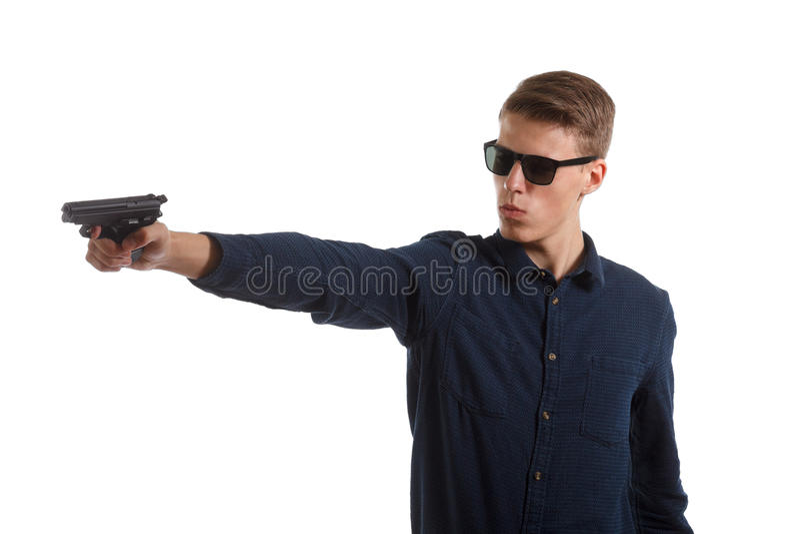 Mens met een pistool stock foto's