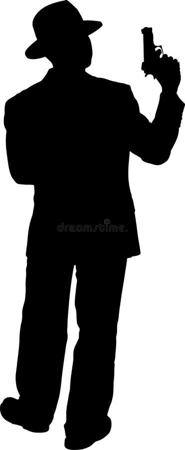 Mens met een Silhouet van het Pistool stock illustratie