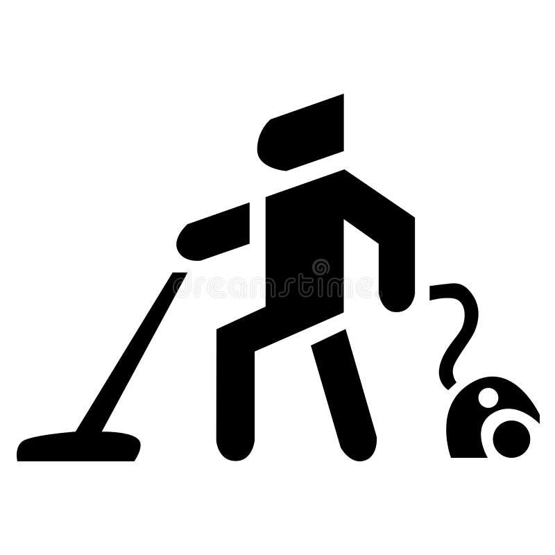 Mens met een stofzuiger vectorpictogram stock illustratie
