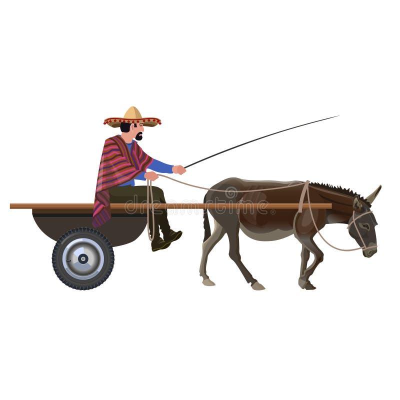 Mens met in ezelskar stock illustratie