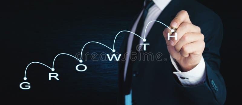 Mens met financiële grafiek Het concept van de groei stock afbeelding