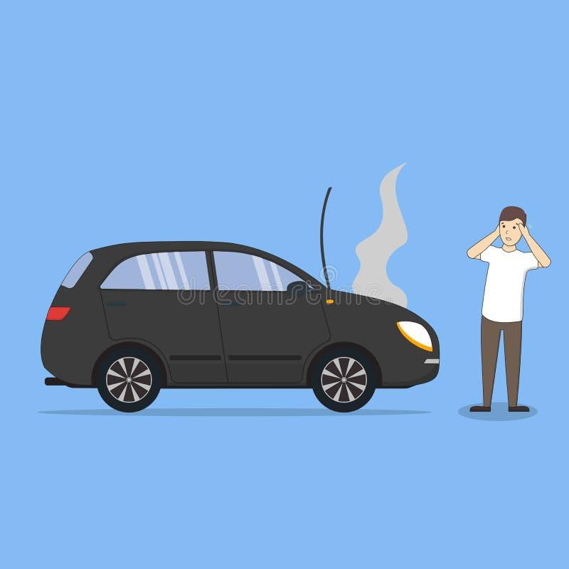 Mens met gebroken auto royalty-vrije illustratie