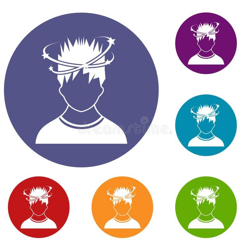 Mens met geplaatste duizeligheidpictogrammen vector illustratie