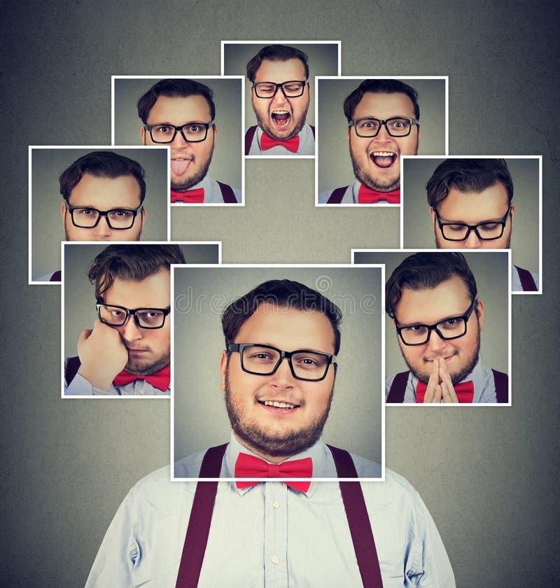 Mens met gespleten persoonlijkheid die stemmingsschommeling hebben royalty-vrije stock afbeelding