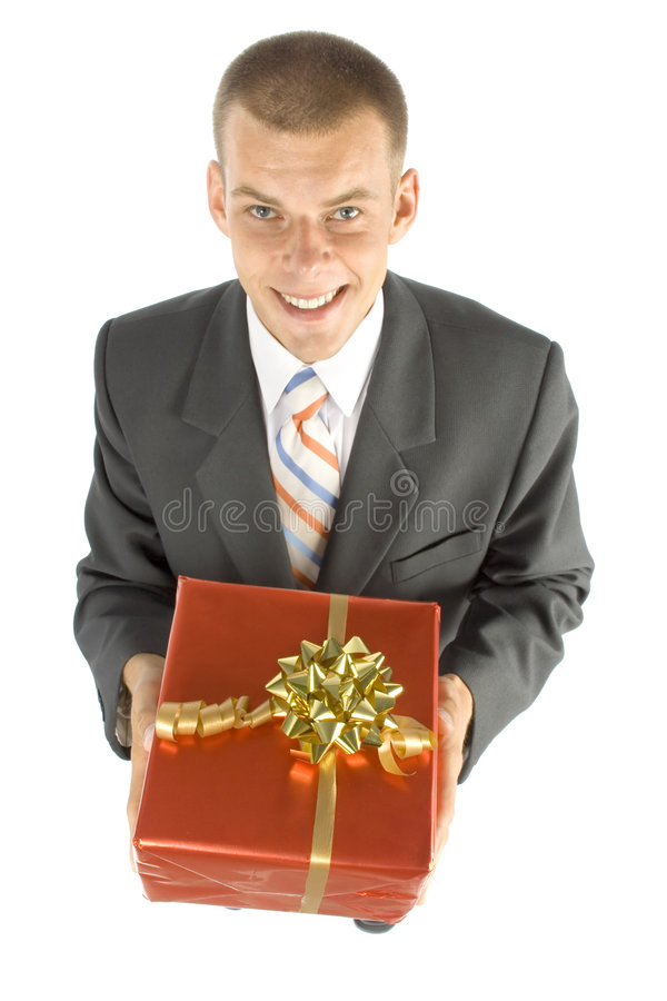 Mens met gift stock afbeeldingen