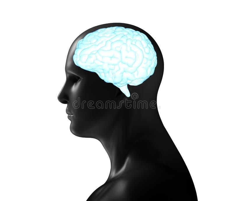 Mens met glanzende hersenen royalty-vrije illustratie