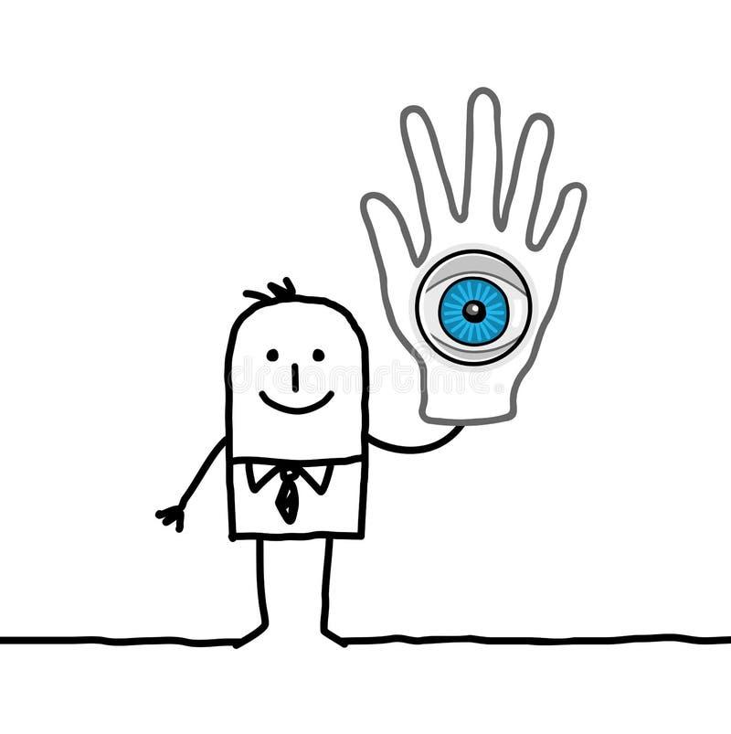 Mens met groot oog in zijn hand vector illustratie