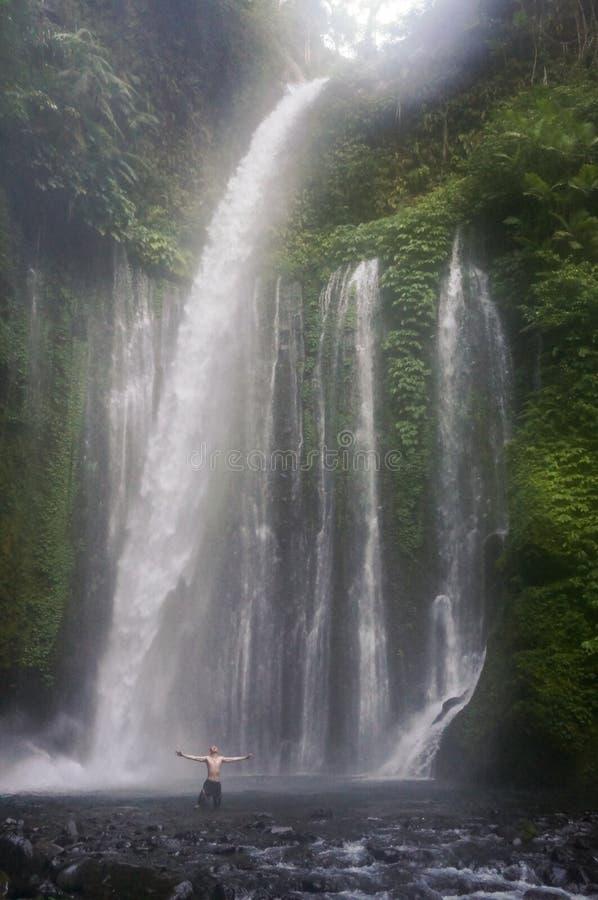 Mens met Grote Watervallen stock afbeelding