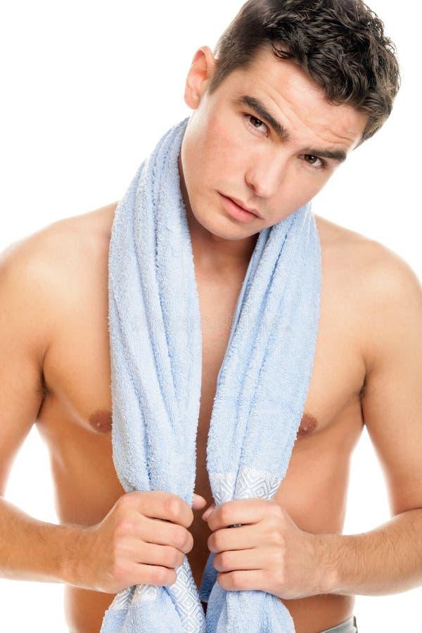Mens met handdoek royalty-vrije stock foto