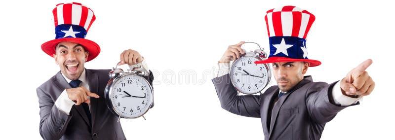 Mens met het Amerikaanse concept van het hoeden op tijd beheer stock foto