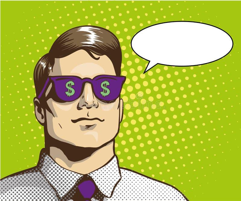 Mens met het teken van de zonnebrildollar Vectorillustratie in retro pop-artstijl Bedrijfs succesconcept royalty-vrije illustratie