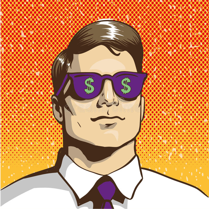 Mens met het teken van de zonnebrildollar Vectorillustratie in retro pop-artstijl Bedrijfs succesconcept stock illustratie